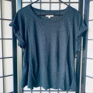 Madewell dark gray 100% linen ruffle pleat shirt M
